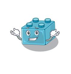 Cute grinning lego brick toys mascot cartoon style vector