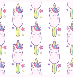 cute unicorn ice cream pattern background hand vector image