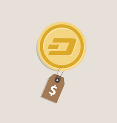Dash coin price value of crypto-currency in dollar vector