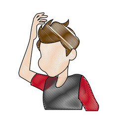 Dizziness young man holding his head vector