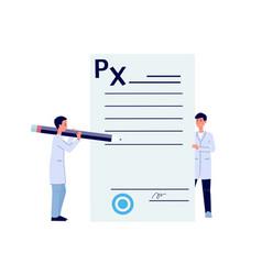Doctors fill out medicine prescription drug form vector