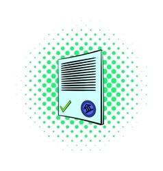 Document icon comics style vector image