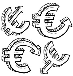 doodle currency up down euro vector image