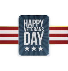 Emblem template with happy veterans day text vector