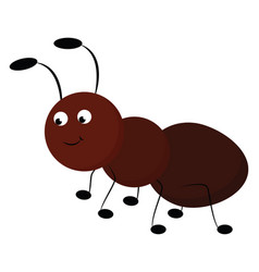 Emoji a smiling brown ant or color vector