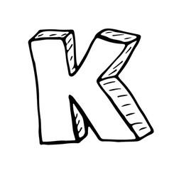 English alphabet - hand drawn letter K vector image