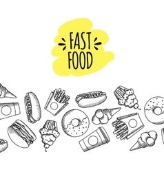Fast food Set of cartoon icons vector