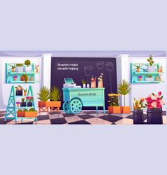 Flower shop interior empty floristic store design vector