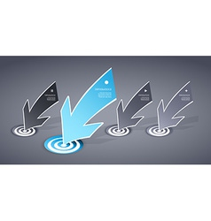 Four colored blue and grey paper arrows on dark vector