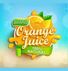 fresh orange juice splash logo on bokeh background vector image