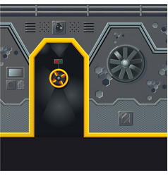 futuristic spaceship wall with door game design vector image