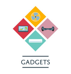Gadgets store icon set in flat design vector