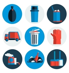 Garbage icons flat set vector
