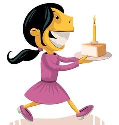 Girl bringing birthday cake vector image