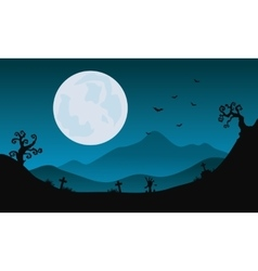 Halloween scenery at night with moon backgrounds vector