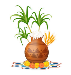 Happy pongal greeting card holiday india vector