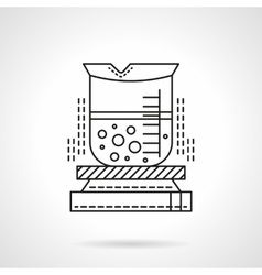 Heated beaker flat line icon vector image