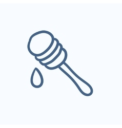 Honey dipper sketch icon vector image