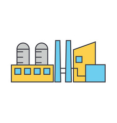 industrial plant line icon concept industrial vector image