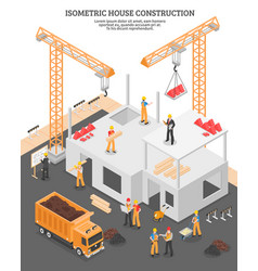 isometric construction vertical composition vector image