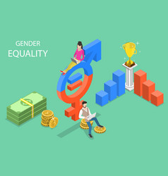 Isometric flat concept gender equality vector