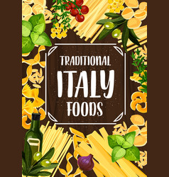 Italian food with pasta tomato and herbs vector