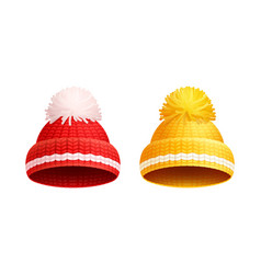knitted red yellow hat with pom-pom icon vector image