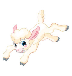 Little cute funny white jumping lamb vector
