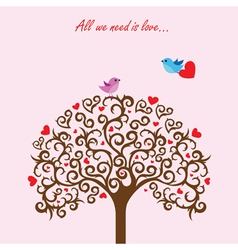 Love tree and birds in love vector