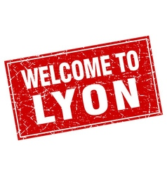 Lyon red square grunge welcome to stamp vector