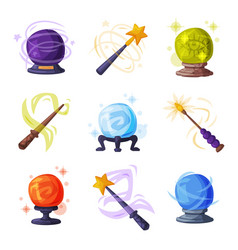 magic wands and balls with shiny sparkles set vector image