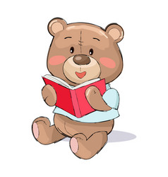 Male teddy-bear reads red book vector