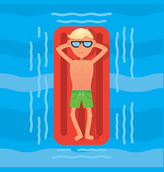 Man swimming in sea on red air mattress top view vector