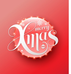 Merry Xmas white lettering on red circle Modern vector image