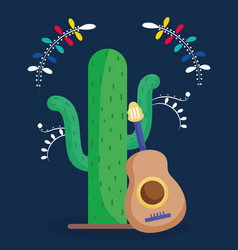 mexican cactus and guitar flowers decoration dark vector image