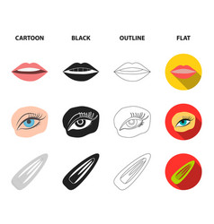 Nail polish tinted eyelashes lips with lipstick vector