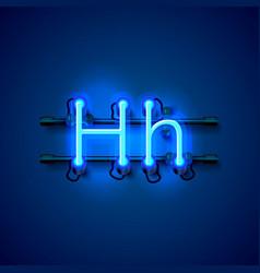 neon font letter h art design singboard vector image