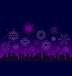 night city fireworks festive christmas vector image