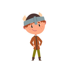 Northern european boy in national clothes kid vector