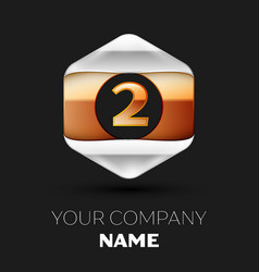 number letter two logo in silver-golden hexagonal vector image