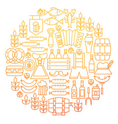oktoberfest line icon circle design vector image