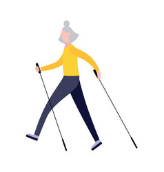 old cartoon woman walking with nordic walk sticks vector image