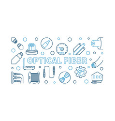 optical fiber outline horizontal banner vector image