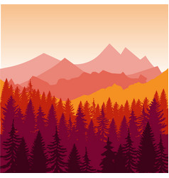 Panorama of mountains and forest silhouette vector