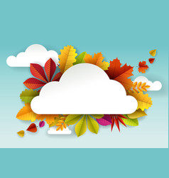 paper cut autumn leaves and cloud shaped vector image