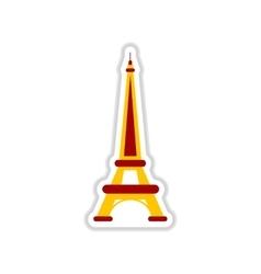 Paper sticker on white background eiffel tower vector