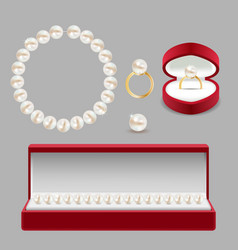 pearl jewelry set realistic vector image