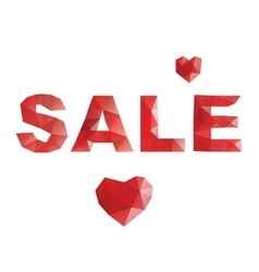 Poly sale Red hearts vector image