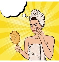 Pop art beautiful woman removing makeup vector