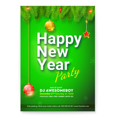 poster of happy new year greetings card with vector image
